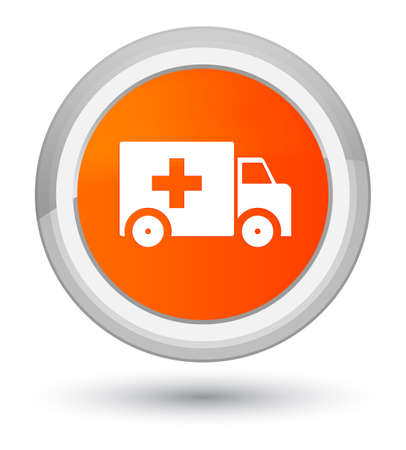 Ambulance icon isolated on prime orange round button abstract illustration Stock Photo