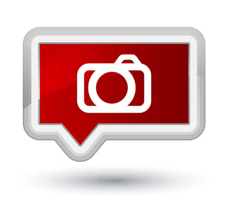 Camera icon isolated on prime red banner button abstract illustration