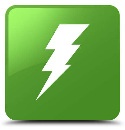 Electricity icon isolated on soft green square button abstract illustration Stock Photo