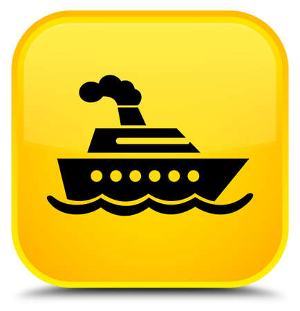 Cruise ship icon isolated on special yellow square button abstract illustration