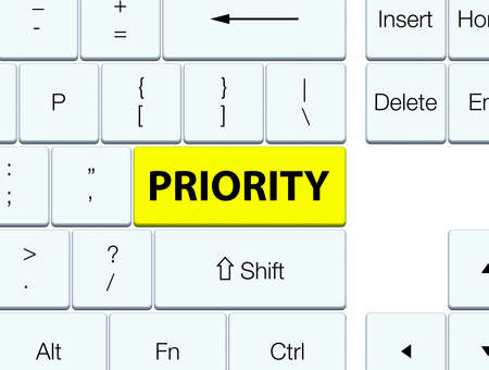 Priority isolated on yellow keyboard button abstract illustration