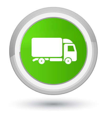lorries: Truck icon isolated on prime soft green round button abstract illustration