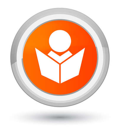 lesson: Elearning icon isolated on prime orange round button abstract illustration