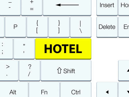Hotel isolated on yellow keyboard button abstract illustration