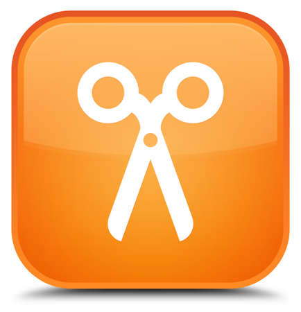 Scissors icon isolated on special orange square button abstract illustration