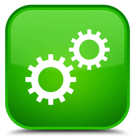 cogwheel: Process icon isolated on special green square button abstract illustration