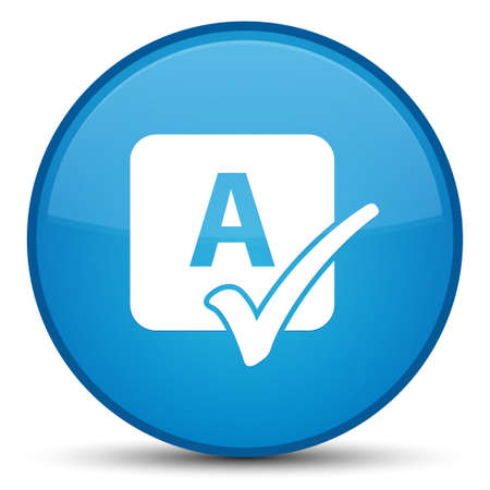 Spell check icon isolated on special cyan blue round button abstract illustration