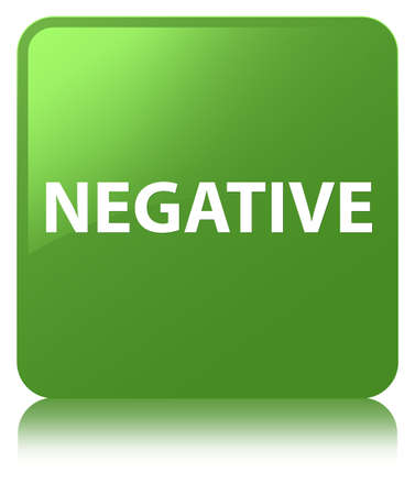 Negative isolated on soft green square button reflected abstract illustration