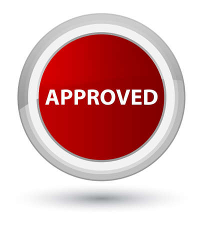 Approved isolated on prime red round button abstract illustration
