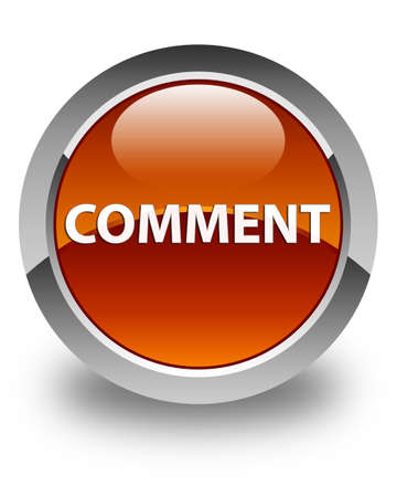 Comment isolated on glossy brown round button abstract illustration