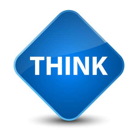Think isolated on elegant blue diamond button abstract illustration Stock Photo