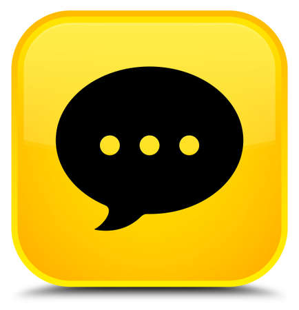 Conversation icon isolated on special yellow square button abstract illustration