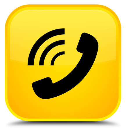 Phone ringing icon isolated on special yellow square button abstract illustration