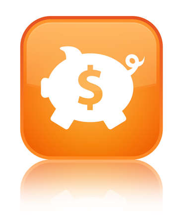 Piggy bank dollar sign icon isolated on special orange square button reflected abstract illustration