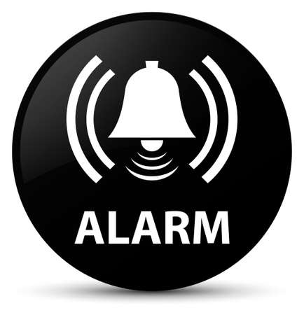 Alarm (bell icon) isolated on black round button abstract illustration