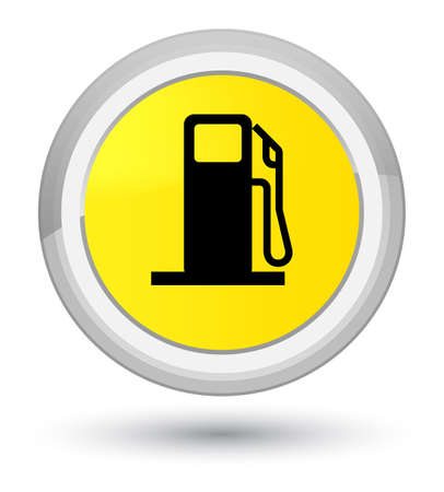 Fuel dispenser icon isolated on prime yellow round button abstract illustration Stock Photo