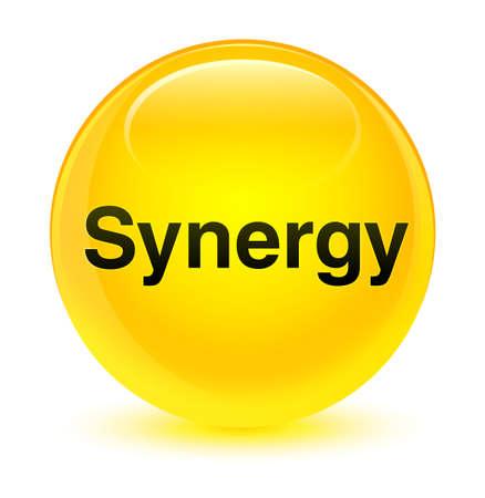 Synergie op glazige gele ronde knoop abstracte illustratie die wordt geïsoleerd Stockfoto