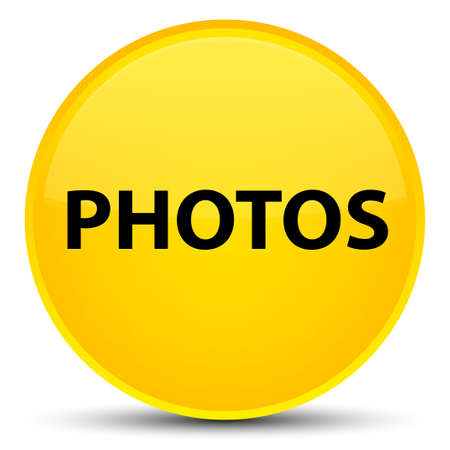 Photos isolated on special yellow round button abstract illustration