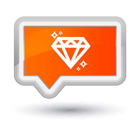 Diamond icon isolated on prime orange banner button abstract illustration