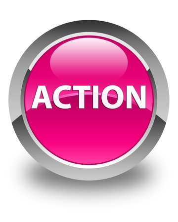 Action isolated on glossy pink round button abstract illustration