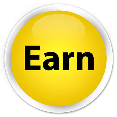 Earn isolated on premium yellow round button abstract illustration