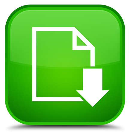 Download document icon isolated on special green square button abstract illustration
