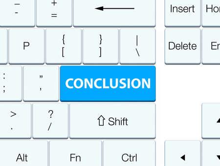 Conclusie op de cyaan blauwe abstracte illustratie die van de toetsenbordknoop wordt geïsoleerd