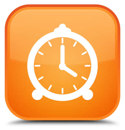 Alarm clock icon isolated on special orange square button abstract illustration