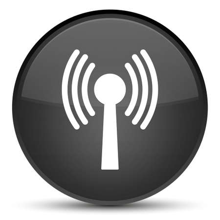 Wlan network icon isolated on special black round button abstract illustration Stock Photo
