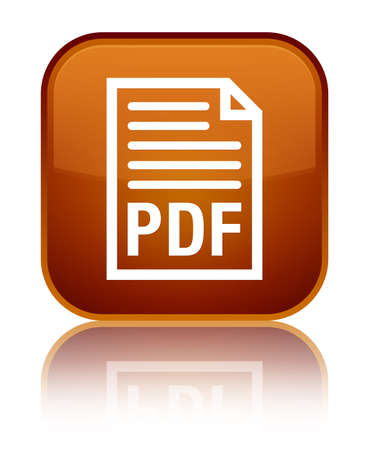 PDF document icon isolated on special brown square button reflected abstract illustration