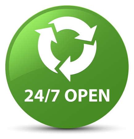 Abierto las 24 horas, los 7 días de la semana, aislado en la suave ilustración de botón redondo verde redondo Foto de archivo
