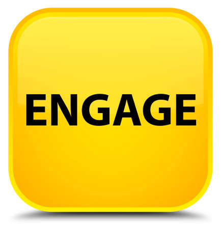 Engage isolated on special yellow square button abstract illustration