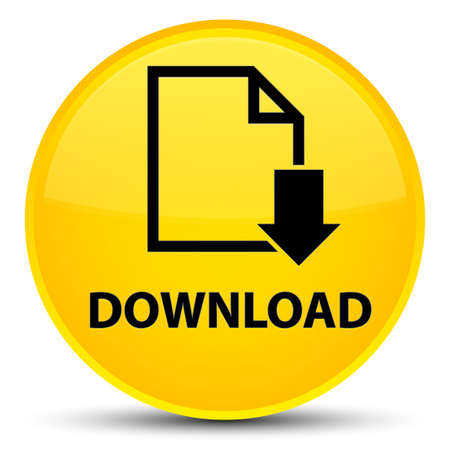 Download (document icon) isolated on special yellow round button abstract illustration Stock Photo