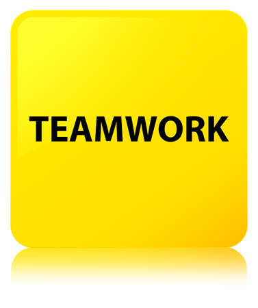 Teamwork isolated on yellow square button reflected abstract illustration