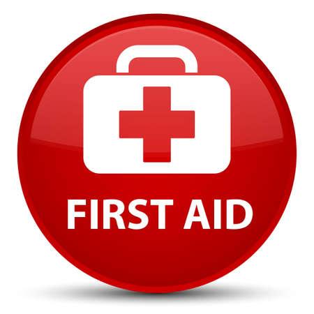 Primeros auxilios aislado en la ilustración abstracta de botón redondo rojo especial Foto de archivo - 89011937