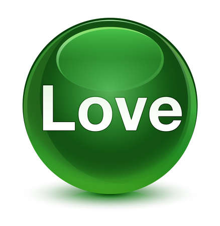 Love isolated on glassy soft green round button abstract illustration