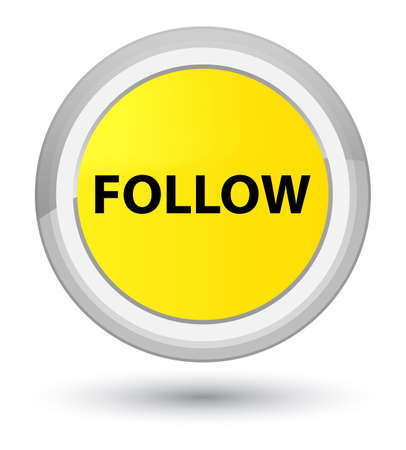 Follow isolated on prime yellow round button abstract illustration Stock Photo