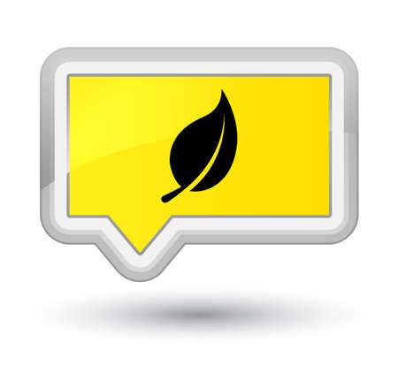 Leaf icon isolated on prime yellow banner button abstract illustration