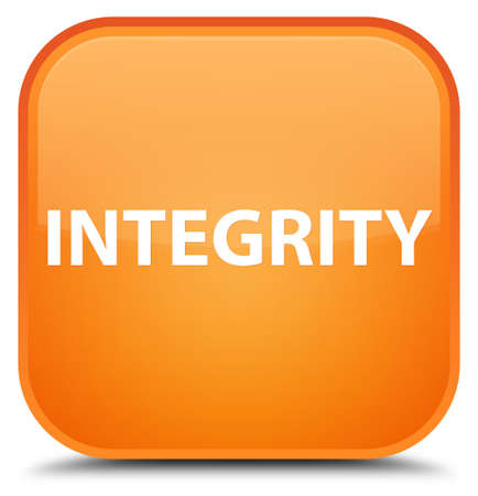 Integrity isolated on special orange square button abstract illustration
