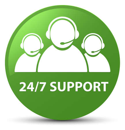 247 Support (customer care team icon) isolated on soft green round button abstract illustration Stock Photo