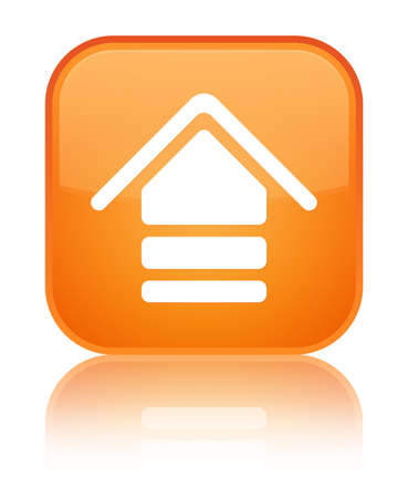 Upload icon isolated on special orange square button reflected abstract illustration