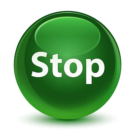 Stop isolated on glassy soft green round button abstract illustration