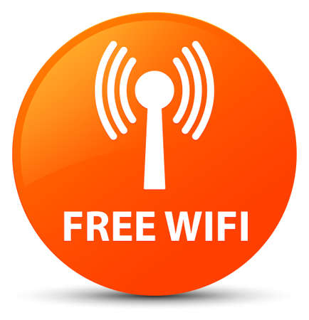 Free wifi (wlan network) isolated on orange round button abstract illustration