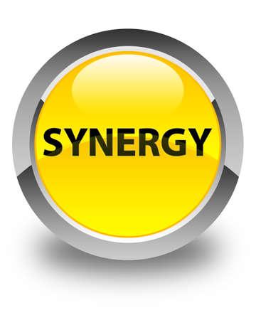 Synergie op glanzende gele ronde knoop abstracte illustratie die wordt geïsoleerd Stockfoto