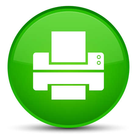Printer icon isolated on special green round button abstract illustration
