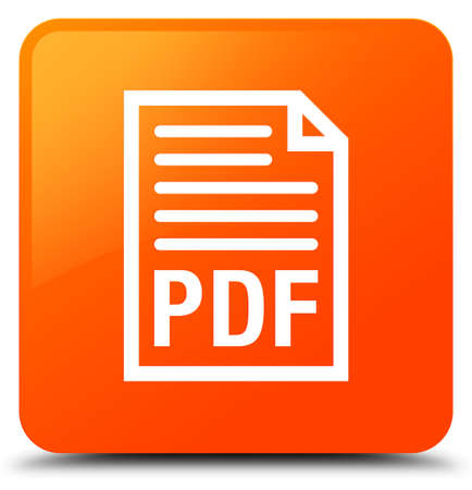 PDF document icon isolated on orange square button abstract illustration