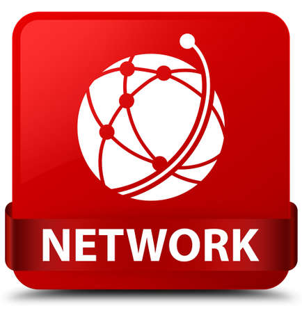Network (global network icon) isolated on red square button with red ribbon in middle abstract illustration Stock Illustration - 89024254