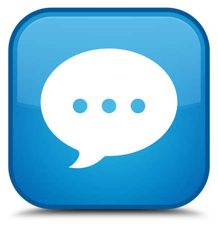 Conversation icon isolated on special cyan blue square button abstract illustration