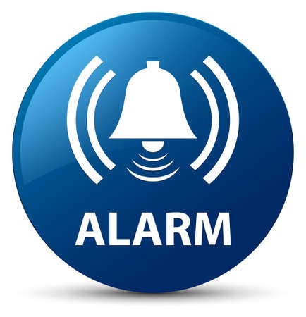 Alarm (bell icon) isolated on blue round button abstract illustration Stock Photo