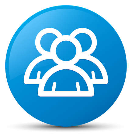 Group icon isolated on cyan blue round button abstract illustration Stock Photo